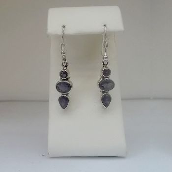 Stunning Long Faceted Iolite Earrings